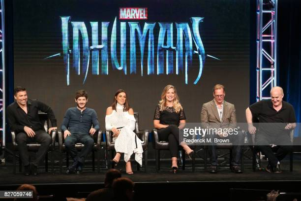 "Actors Anson Mount, Iwan Rheon, Serinda Swan, Ellen Woglom, executive producers Scott Buck and Jeph Loeb of ""Inhumans"" speak onstage during the..."