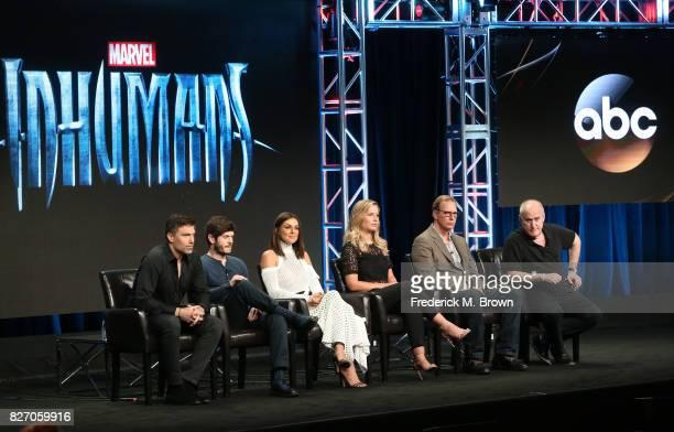 "Actors Anson Mount, Iwan Rheon, Serinda Swan, Ellen Woglom, executive producers Scott Buck and Jeph Loeb of ""Inhumans"" speak onstage during the..."