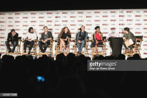 Actors Anson Mount Shazad Latif Anthony Rapp Mary Wiseman Doug Jones Sonequa MartinGreen and moderator speak at the Space Presents 'Star Trek...