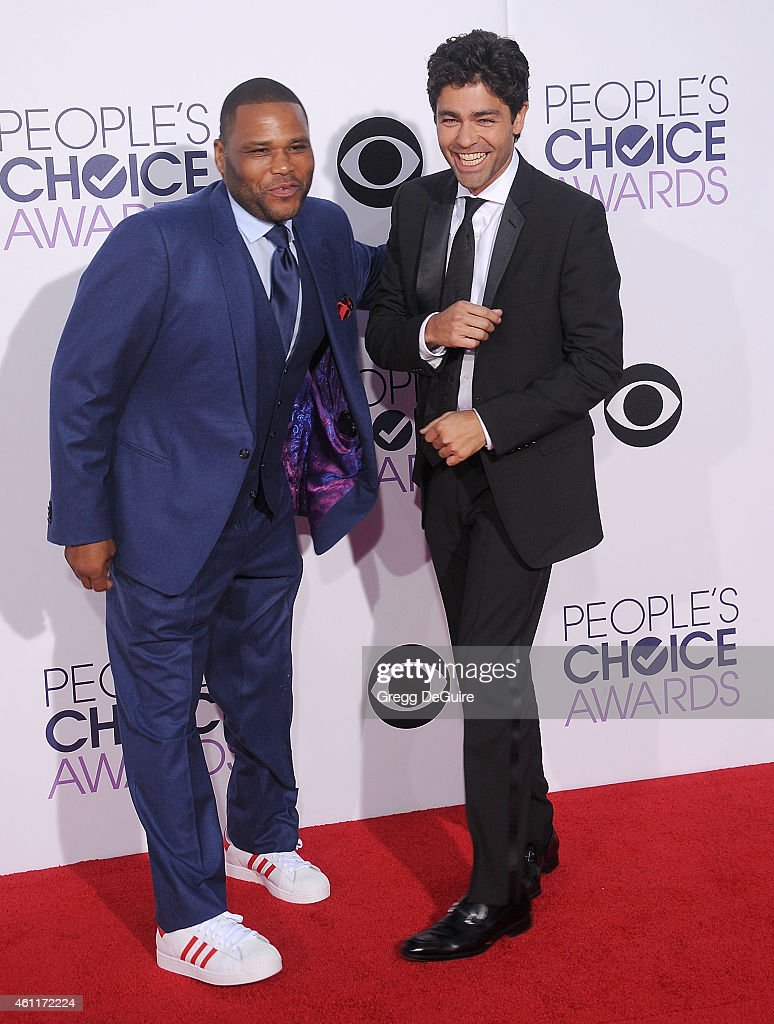 Actors Anthony Anderson and Adrian Grenier arrive at The 41st Annual People's Choice Awards at Nokia Theatre LA Live on January 7, 2015 in Los Angeles, California.