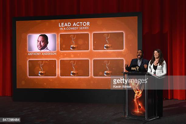 Actors Anthony Anderson and Lauren Graham present the 68th Emmy Awards nominations announcement at the Saban Media Center on July 14 2016 in North...