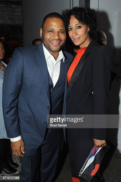 Actors Anthony Anderson and Tracee Ellis Ross attend An Evening With John Legend hosted by POLITICO to kickoff White House Correspondents' weekend at...