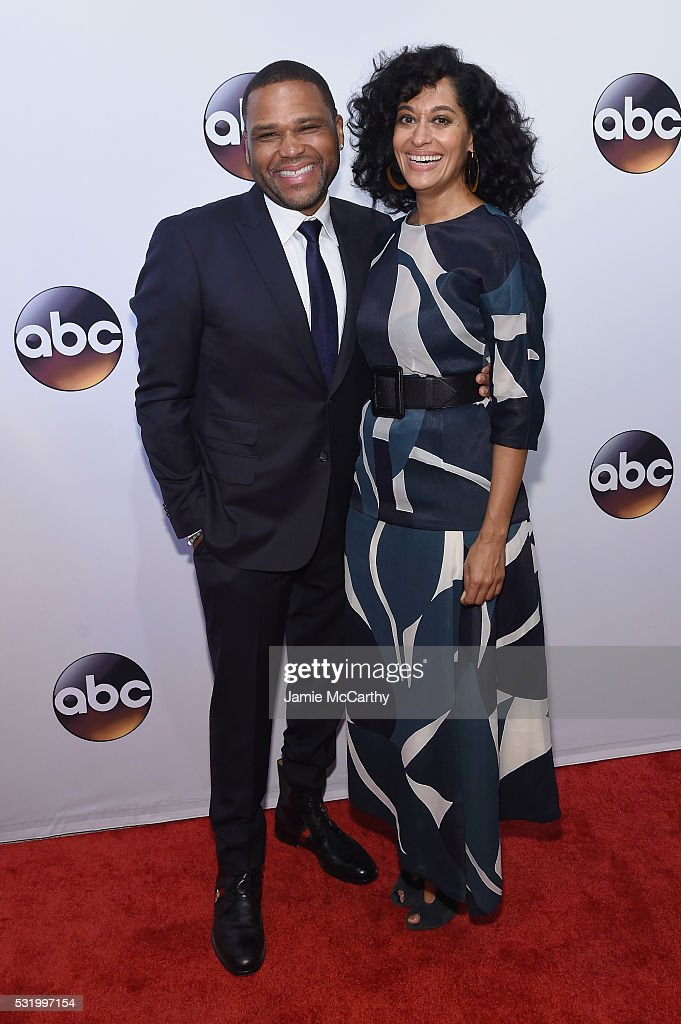 Actors Anthony Anderson (L) and Tracee Ellis Ross attend the 2016 ABC Upfront at David Geffen Hall on May 17, 2016 in New York City.