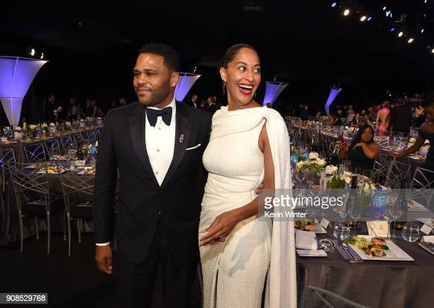 Actors Anthony Anderson and Tracee Ellis Ross attend the 24th Annual Screen Actors Guild Awards at The Shrine Auditorium on January 21 2018 in Los...