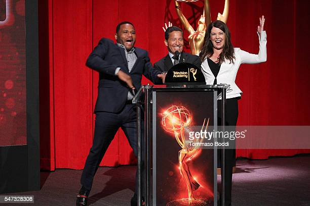 Actors Anthony Anderson Lauren Graham and Television Academy Chairman and CEO Bruce Rosenblum present the 68th Emmy Awards Nominations Announcement...