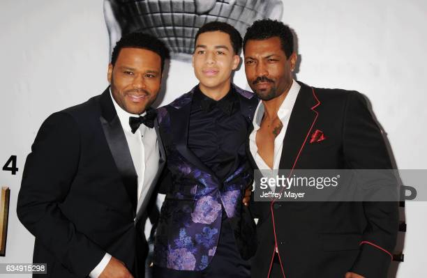 Actors Anthony Anderson Marcus Scribner and Deon Cole arrive at the 48th NAACP Image Awards at Pasadena Civic Auditorium on February 11 2017 in...