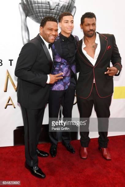 Actors Anthony Anderson Marcus Scribner and Deon Cole attend the 48th NAACP Image Awards at Pasadena Civic Auditorium on February 11 2017 in Pasadena...
