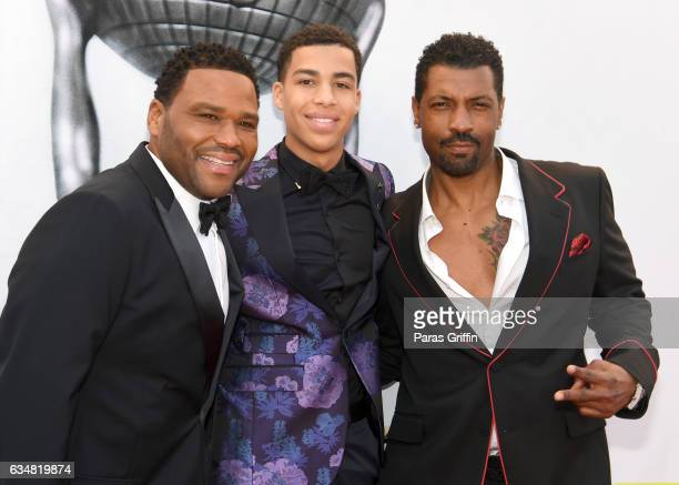 Actors Anthony Anderson Marcus Scribner and Deon Cole attends the 48th NAACP Image Awards at Pasadena Civic Auditorium on February 11 2017 in...