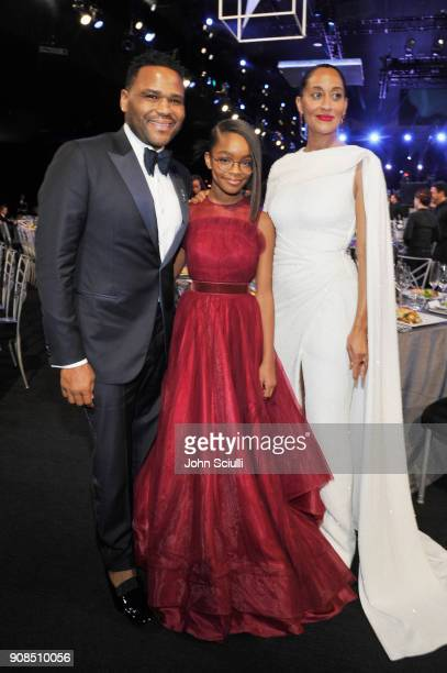 Actors Anthony Anderson Marsai Martin and Tracee Ellis Ross attend the 24th Annual Screen Actors Guild Awards at The Shrine Auditorium on January 21...