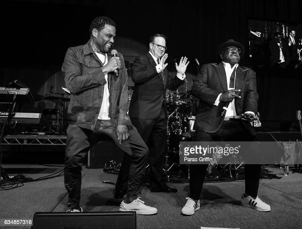 Actors Anthony Anderson Peter Mackenzie and Cedric The Entertainer onstage at 48th NAACP Image Awards After Party at Pasadena Civic Auditorium on...