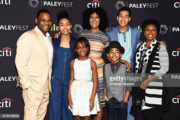 Actors Anthony Anderson Yara Shahidi Marsai Martin Tracee Ellis Ross Miles Brown Marcus Scribner and Jenifer Lewis arrive at The Paley Center For...