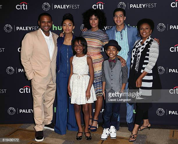 Actors Anthony Anderson Yara Shahidi Marsai Martin Tracee Ellis Ross Miles Brown Marcus Scribner and Jenifer Lewis attend The Paley Center For...