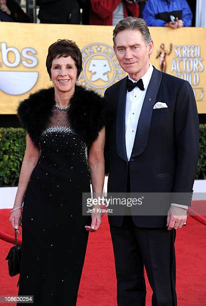Actors Anthony Andrews and Georgina Simpson arrives at the 17th Annual Screen Actors Guild Awards held at The Shrine Auditorium on January 30 2011 in...