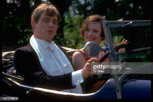 Actors Anthony Andrews and Lesley-Anne Down in character as Robert and Georgina Stockbridge in period drama Upstairs, Downstairs, circa 1976.