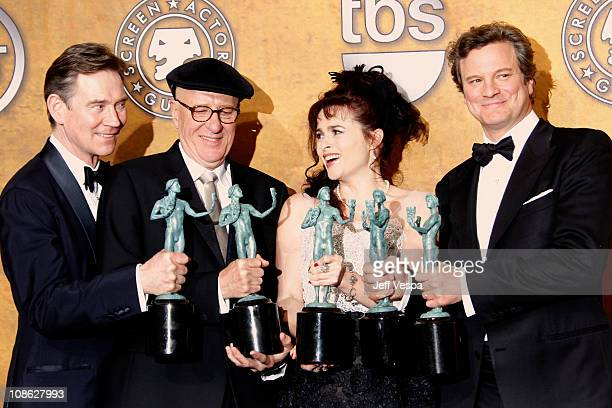 Actors Anthony Andrews Geoffrey Rush Helena Bonham Carter and Colin Firth pose in the press room during the 17th Annual Screen Actors Guild Awards...