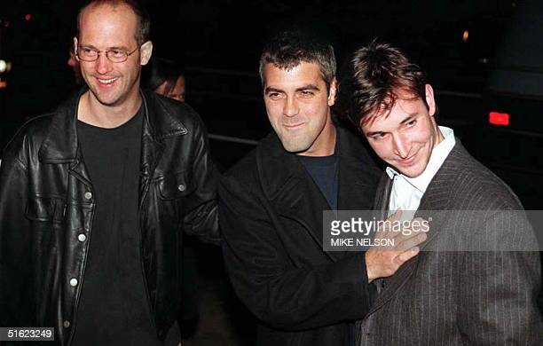 Actors Anthony Edwards George Clooney and Noah Wylie who play doctors on the hit television show ER arrive at the premiere of From Dusk Till Dawn 17...