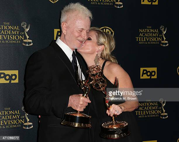 Actors Anthony Geary winner of the award for Outstanding Lead Actor in a Drama Series for 'General Hospital' and Maura West winner of the award for...