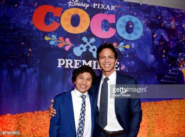 Actors Anthony Gonzalez and Benjamin Bratt arrive at the premiere of Disney Pixar's 'Coco' at the El Capitan Theatre on November 8 2017 in Los...