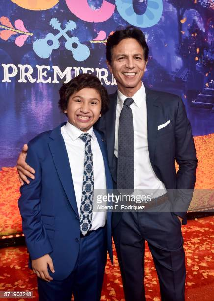 Actors Anthony Gonzalez and Benjamin Bratt at the US Premiere of DisneyPixar's Coco at the El Capitan Theatre on November 8 in Hollywood California