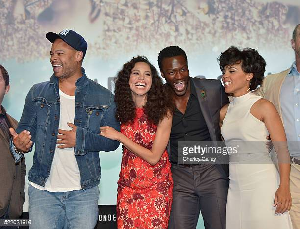 Actors Anthony Hemingway Jurnee SmollettBell Aldis Hodge and Amirah Vann attend WGN America's Underground For Your Consideration Emmy Event on April...