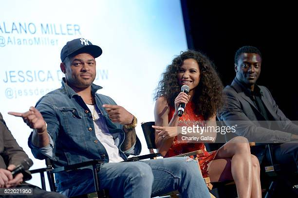 Actors Anthony Hemingway Jurnee SmollettBell and Aldis Hodge speak onstage at WGN America's Underground For Your Consideration Emmy Event on April 17...