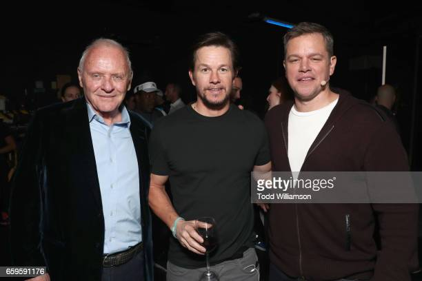 Actors Anthony Hopkings Mark Wahlberg and Matt Damon at CinemaCon 2017 Paramount Pictures Presentation Highlighting Its Summer of 2017 and Beyond at...