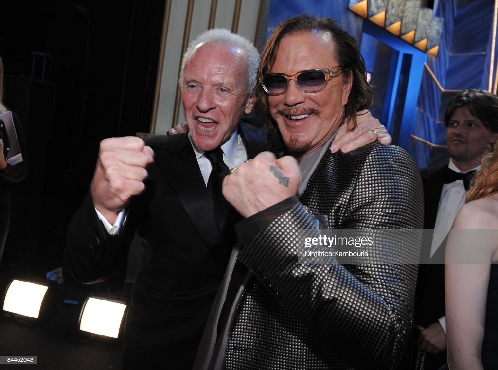 Actors Anthony Hopkins and Mickey Rourke attend the TNT/TBS broadcast of the 15th Annual Screen Actors Guild Awards at the Shrine Auditorium on January 25, 2009 in Los Angeles, California. 17499_DK_0240.JPG
