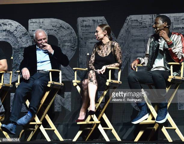 Actors Anthony Hopkins Laura Haddock and Jerrod Carmichael speak onstage at CinemaCon 2017 Paramount Pictures Presentation Highlighting Its Summer of...