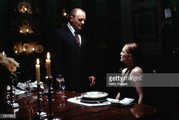 Actors Anthony Hopkins stars as Dr Hannibal Lecter and Julianne Moore stars as FBI Agent Clarice Starling in MetroGoldwynMayer Pictures'' thriller...