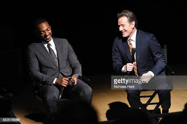Actors Anthony Mackie and Bryan Cranston participate in a panel discussion after the NYC special screening of HBO Films' 'All The Way' at Jazz at...