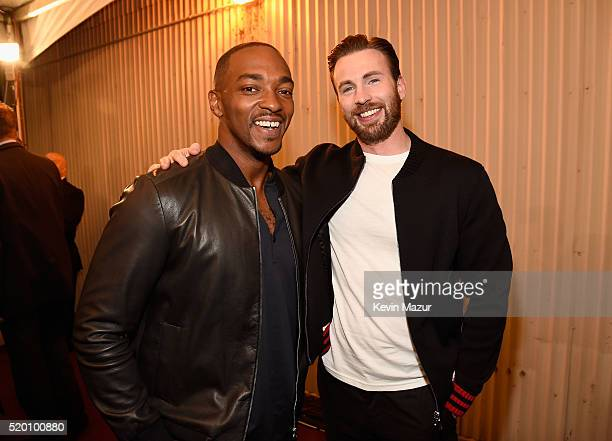 Actors Anthony Mackie and Chris Evans attend the 2016 MTV Movie Awards at Warner Bros Studios on April 9 2016 in Burbank California MTV Movie Awards...