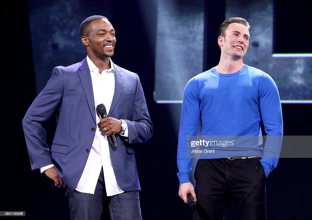 Actors Anthony Mackie (L) and Chris Evans of