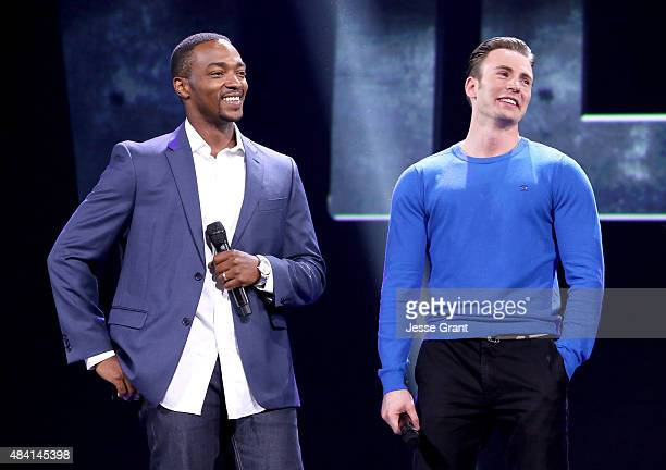 Actors Anthony Mackie and Chris Evans of CAPTAIN AMERICA CIVIL WAR took part today in 'Worlds Galaxies and Universes Live Action at The Walt Disney...