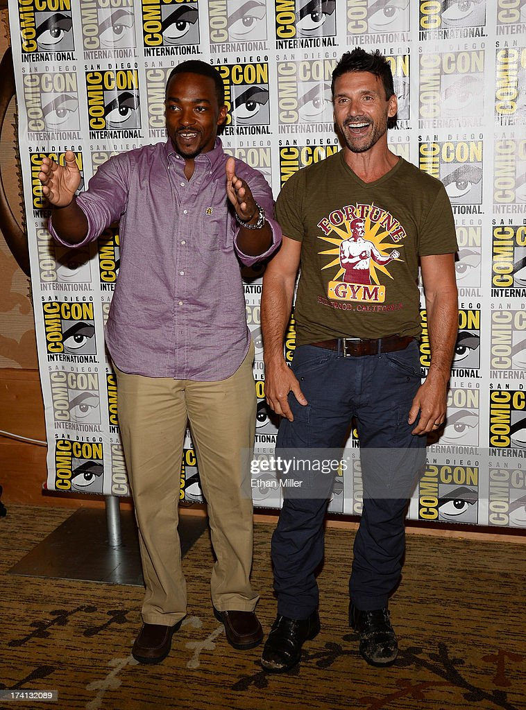 Actors Anthony Mackie (L) and Frank Grillo attend Marvel's 'Captain America: The Winter Soldier' during Comic-Con International 2013 at the Hilton San Diego Bayfront Hotel on July 20, 2013 in San Diego, California.