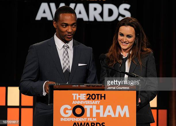 Actors Anthony Mackie and Leighton Meester present onstage at IFP's 20th Annual Gotham Independent Film Awards at Cipriani Wall Street on November 29...