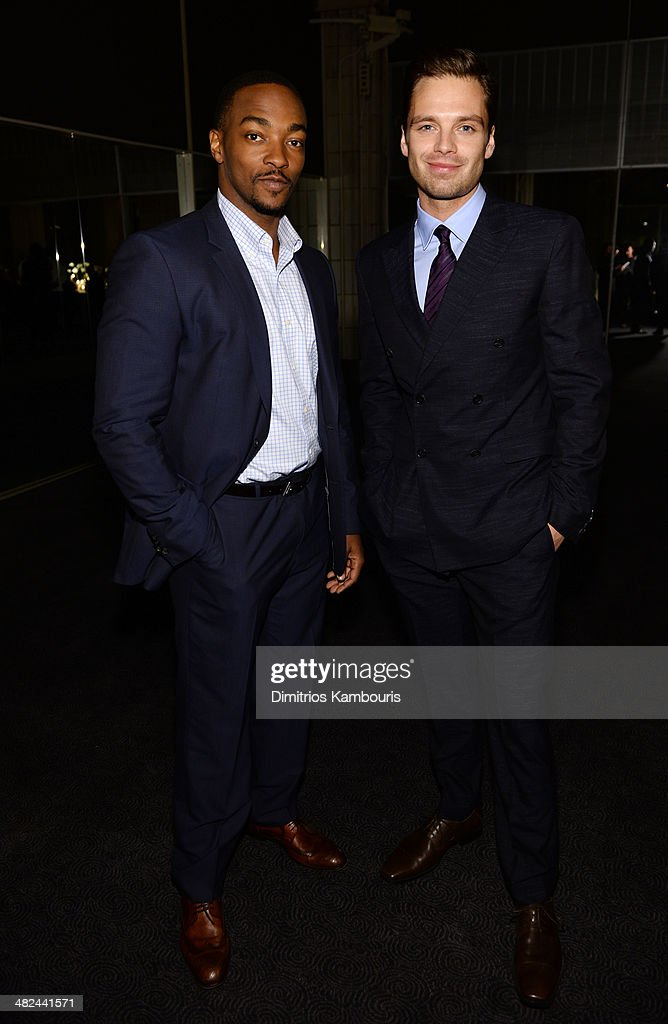 Actors Anthony Mackie (L) and Sebastian Stan attend Montblanc Celebrates 90 Years of the Iconic Meisterstuck on April 3, 2014 at Guastavino's in New York City.