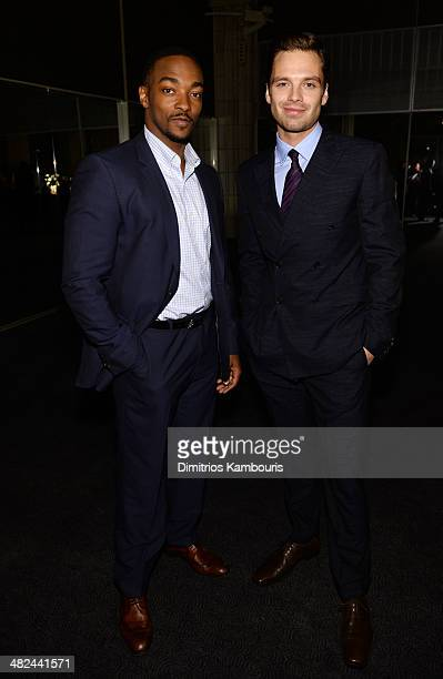 Actors Anthony Mackie and Sebastian Stan attend Montblanc Celebrates 90 Years of the Iconic Meisterstuck on April 3, 2014 at Guastavino's in New York...