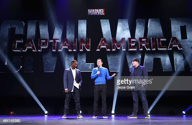 Actors Anthony Mackie Chris Evans and Producer Kevin Feige of CAPTAIN AMERICA CIVIL WAR took part today in 'Worlds Galaxies and Universes Live Action...