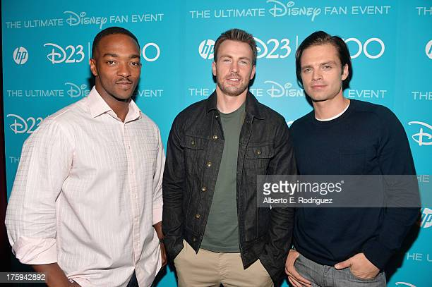 Actors Anthony Mackie Chris Evans and Sebastian Stan of Captain America The Winter Solder attend Let the Adventures Begin Live Action at The Walt...