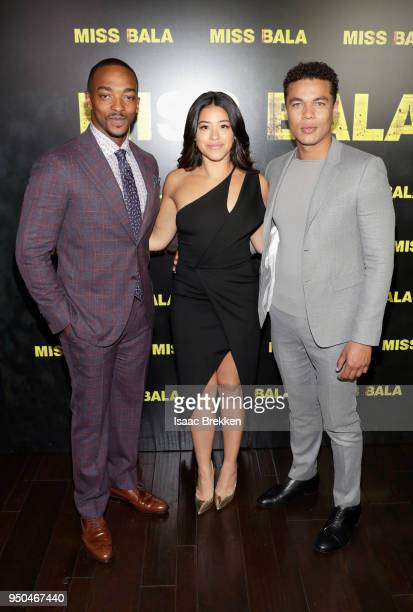 Actors Anthony Mackie Gina Rodriguez and Ismael Cruz Cordova attend the CinemaCon 2018 Gala Opening Night Event Sony Pictures Highlights its 2018...