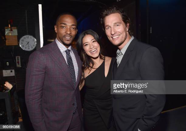 Actors Anthony Mackie Gina Rodriguez and Matthew McConaughey attend the CinemaCon 2018 Gala Opening Night Event Sony Pictures Highlights its 2018...