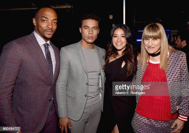 Actors Anthony Mackie Ismael Cruz Córdova Gina Rodriguez and director Catherine Hardwicke attend the CinemaCon 2018 Gala Opening Night Event Sony...