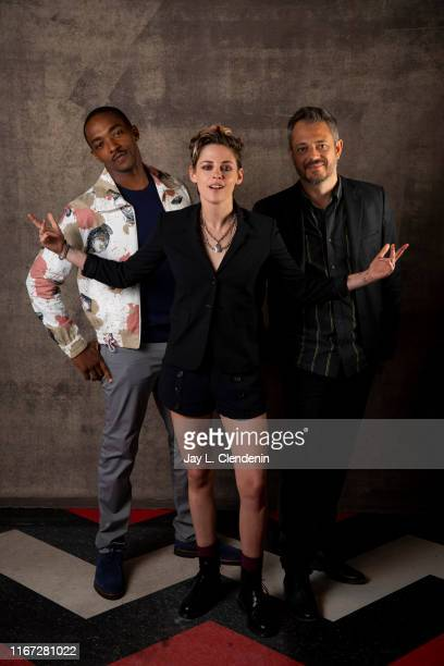 Actors Anthony Mackie Kristen Stewart and director Benedict Andrews from 'Seberg' are photographed for Los Angeles Times on September 7 2019 at the...