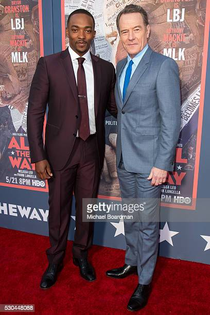 Actors Anthony Mackie left and Bryan Cranston attends the premiere of HBO's 'All The Way' at Paramount Studios on May 10 2016 in Hollywood California