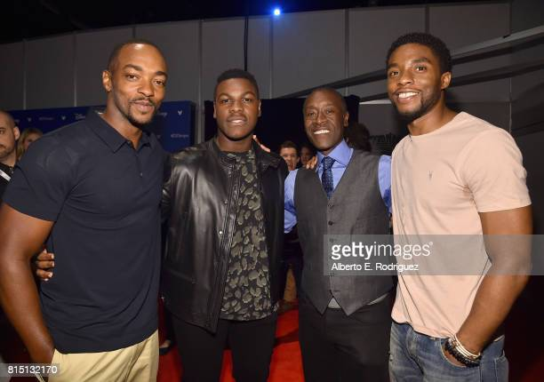 Actors Anthony Mackie of AVENGERS INFINITY WAR John Boyega of STAR WARS THE LAST JEDI Don Cheadle and Chadwick Boseman of AVENGERS INFINITY WAR took...