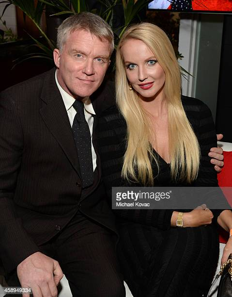 Actors Anthony Michael Hall and Lucia Oskerova attend the after party for Sony Pictures Classics' Foxcatcher during AFI FEST 2014 presented by Audi...