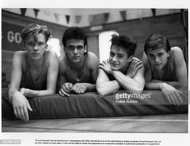 "Actors Anthony Michael Hall, Robert Rusler , Robert Downey Jr. And Ilan Mitchell-Smith pose for the Universal Studio movie ""Weird Science"""