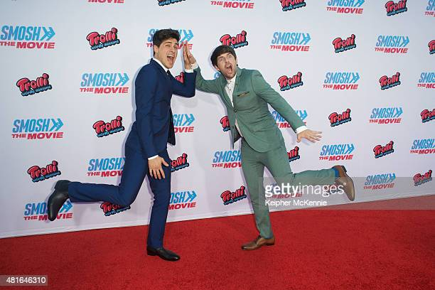 Actors Anthony Padilla and Ian Hecox attend premiere of Smosh The Movie at Westwood Village Theatre on July 22 2015 in Westwood California