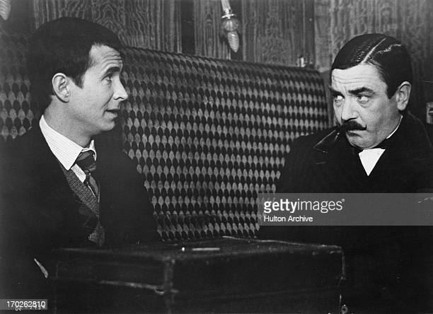 Actors Anthony Perkins and Albert Finney in a scene from Agatha Christie's 'Murder On The Orient Express' 1974