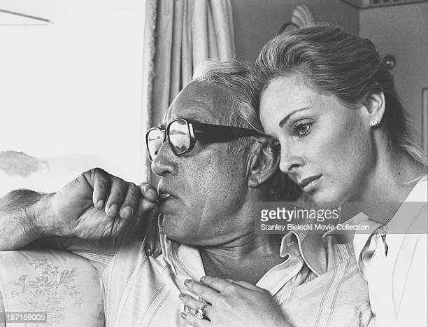 Actors Anthony Quinn and Camilla Sparv in a scene from the film 'The Greek Tycoon' 1978